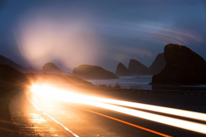The Oregon coast at dawn.