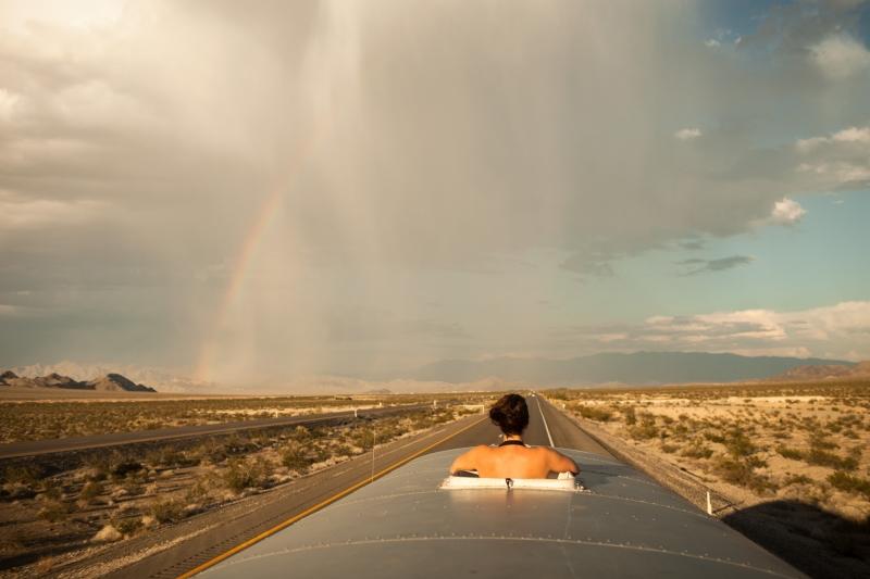 Rainstorm as we approach Las Vegas, NV.