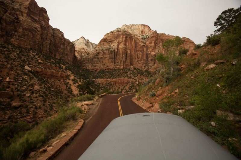 The bus traveling through Zion.