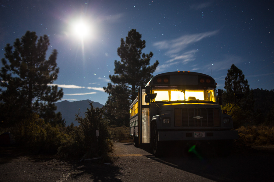 The bus resting for the night in the Eastern Sierra Mountains.