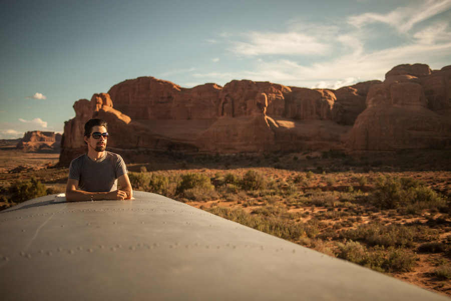 Ethan enjoying the view of Arches National Park.