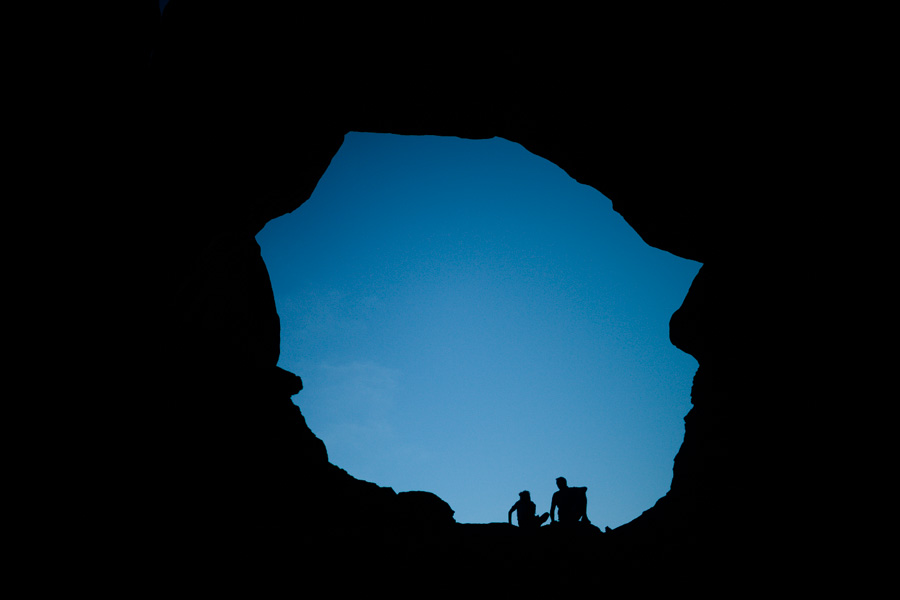 Light disappears inside Double Arch.