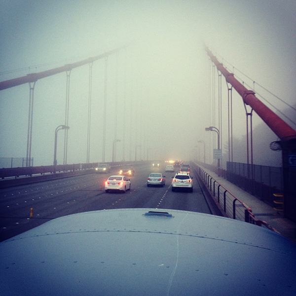 Crossing the Golden Gate Bridge.