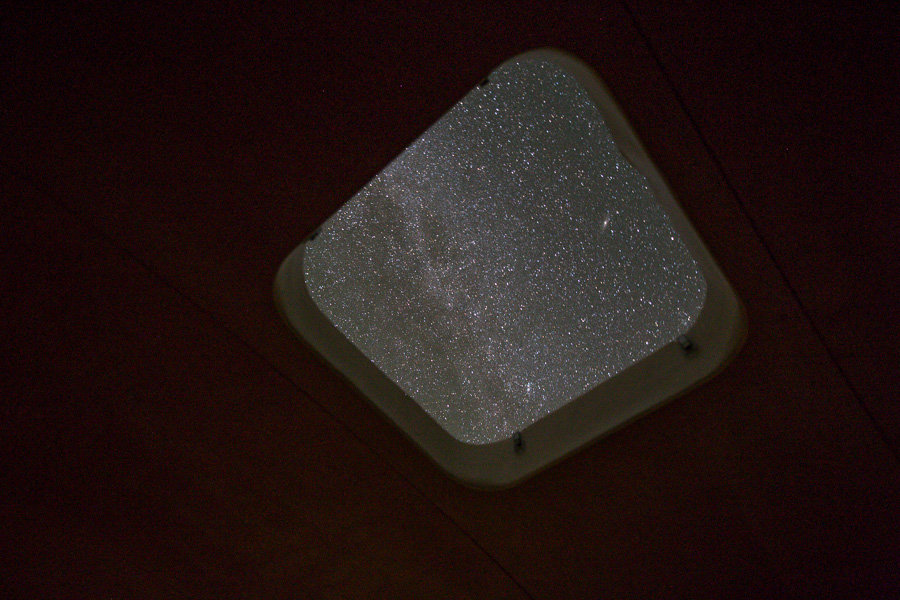Star-gazing through the skylight hatch.